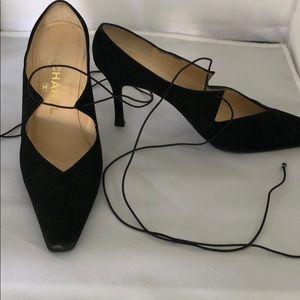 Chanel black suede kitten heels